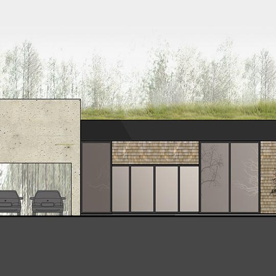 eko namo projektas, priekinis fasadas