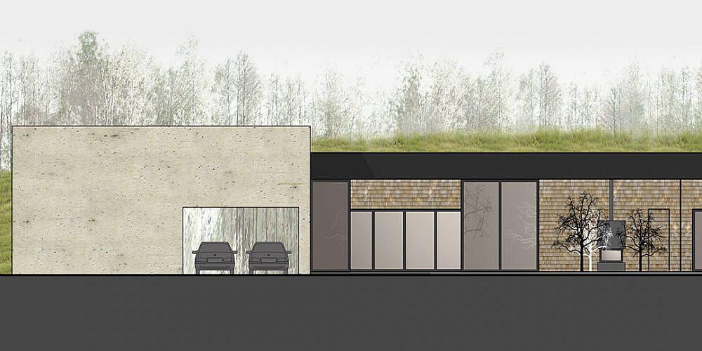 eko namo projektas - priekinis fasadas