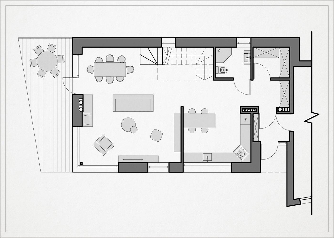 1 auksto architekturinis planas - namas pavilnyje