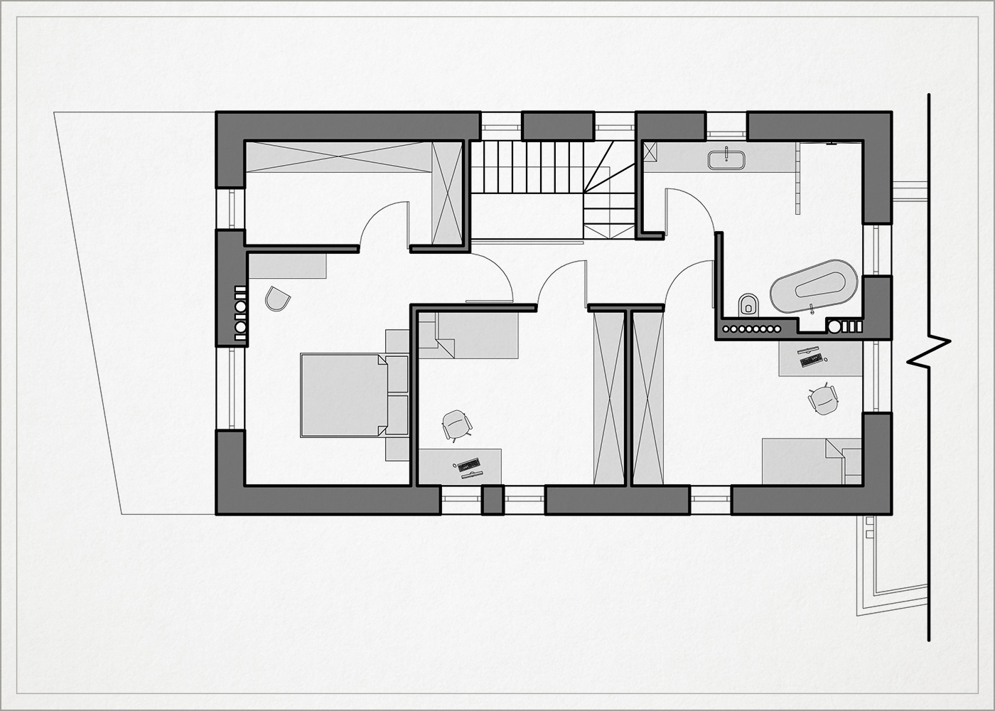 2 auksto architekturinis planas - namas pavilnyje