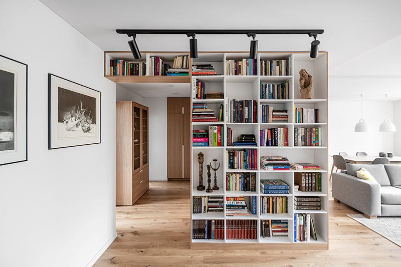 interjero dizaino pavyzdys - holas su knygu lentynomis