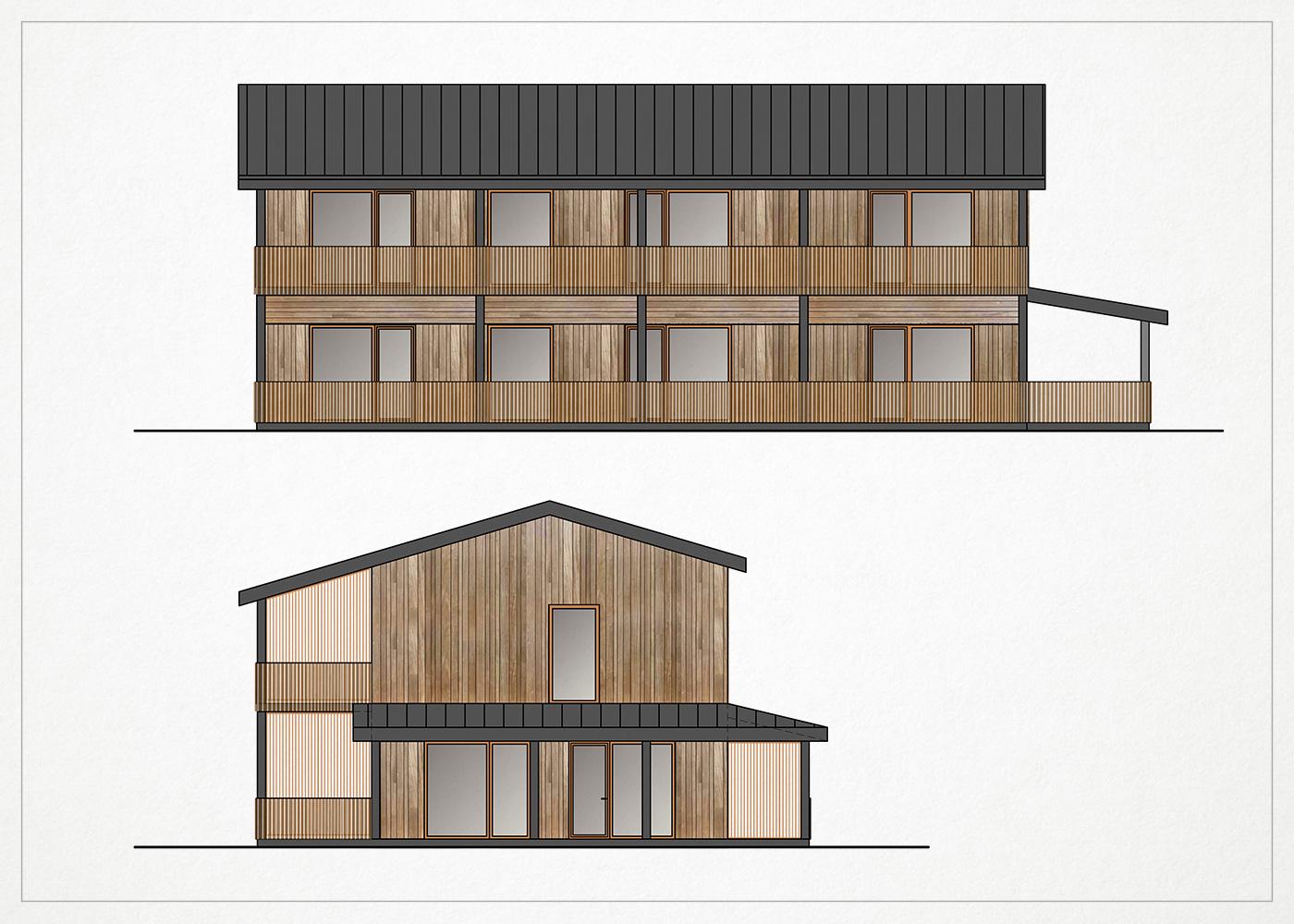 gyvenamasis namas kalnenuose - fasado vizualizacija #3
