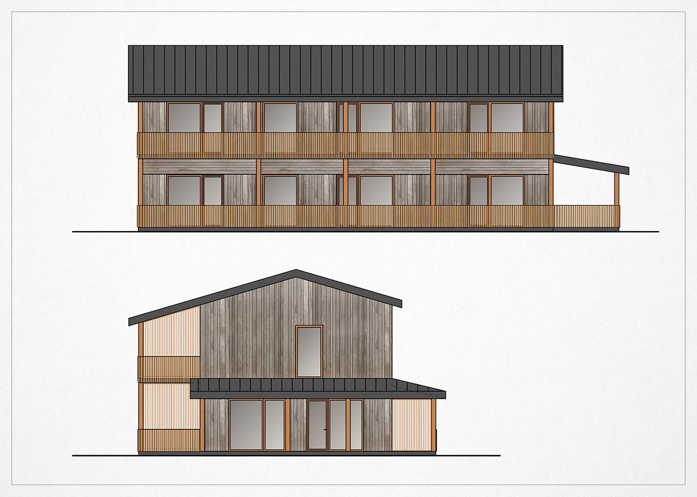 gyvenamasis namas kalnenuose - fasado vizualizacija #2