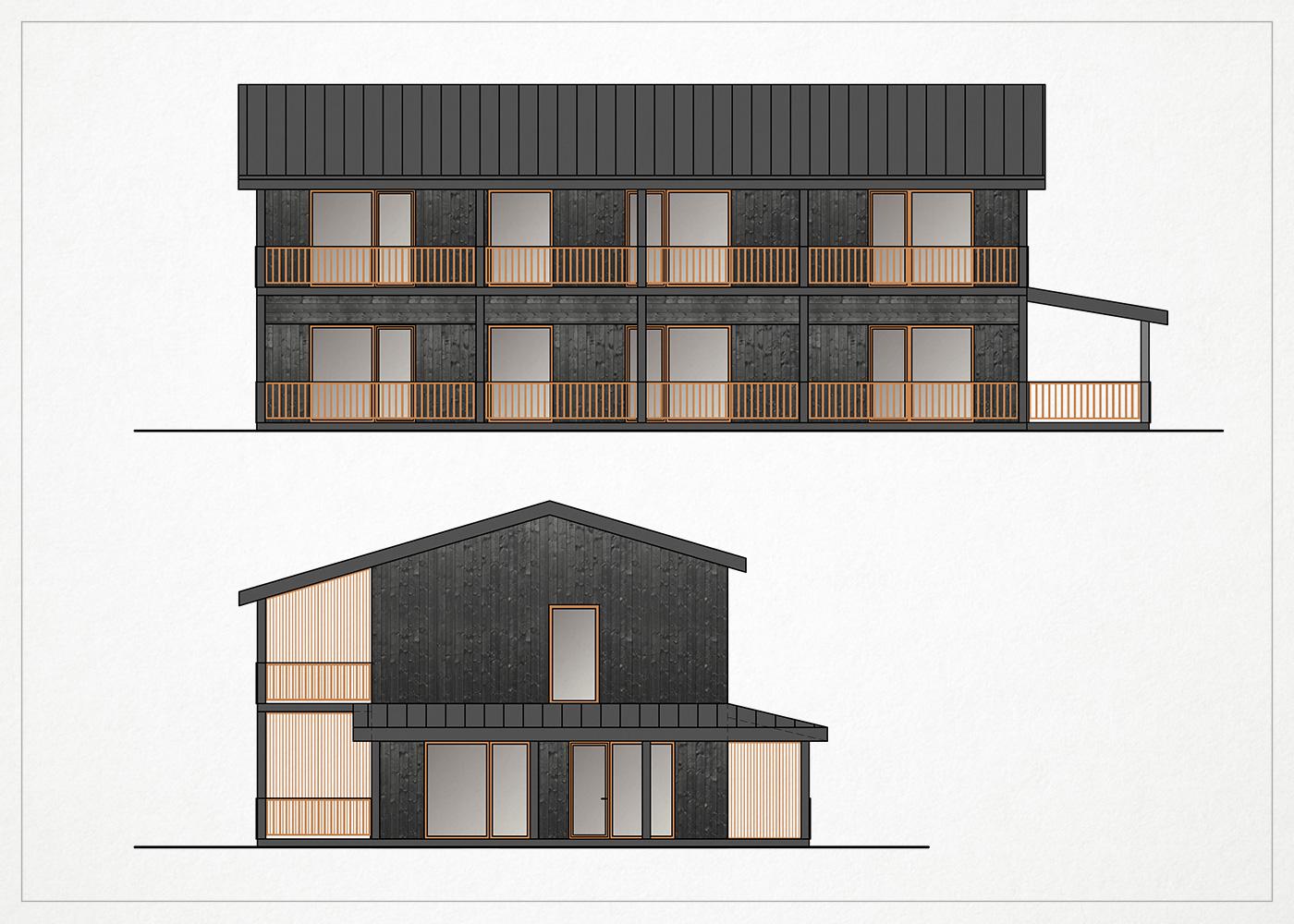 gyvenamasis namas kalnenuose - fasado vizualizacija
