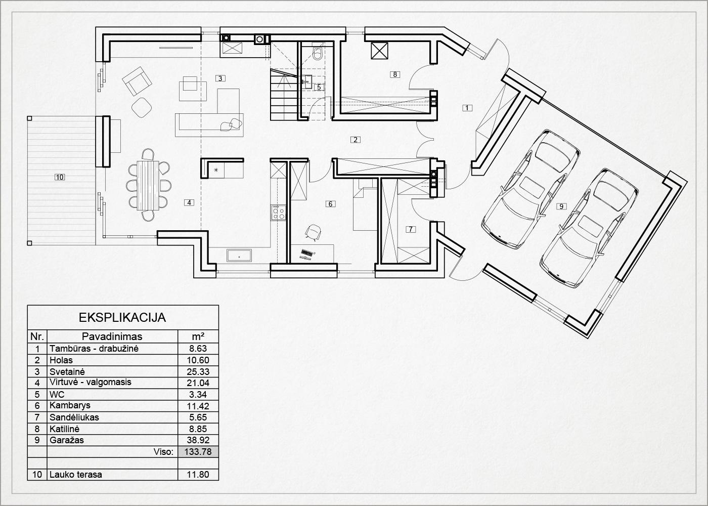 1 auksto architekturinis planas - namas avizieniuose