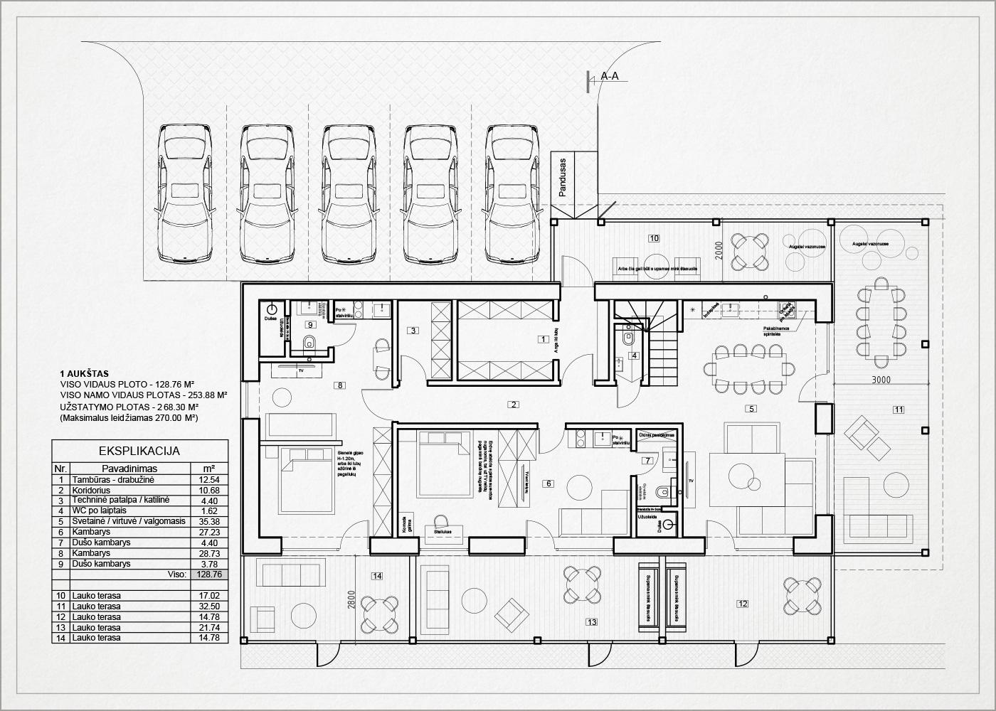 1 auksto architekturinis planas - namas kalnenuose