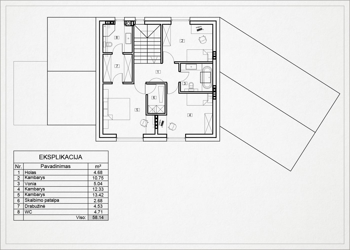 2 auksto architekturinis planas - namas avizieniuose