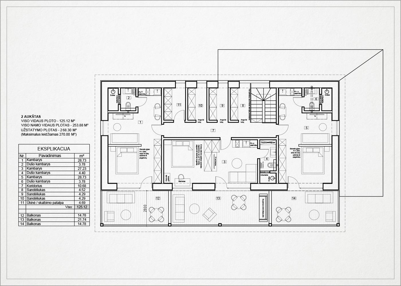 2 auksto architekturinis planas - namas kalnenuose