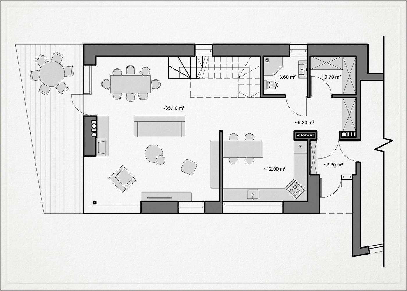 gyvenamojo namo pavilnyje 1 auksto planas