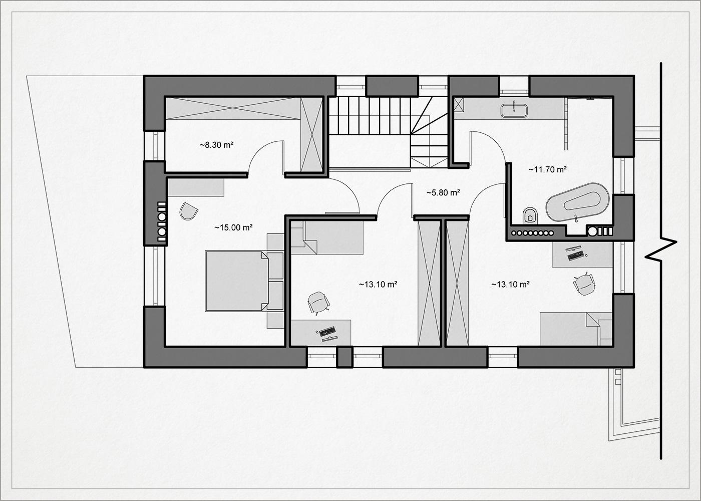 gyvenamojo namo pavilnyje 2 auksto planas