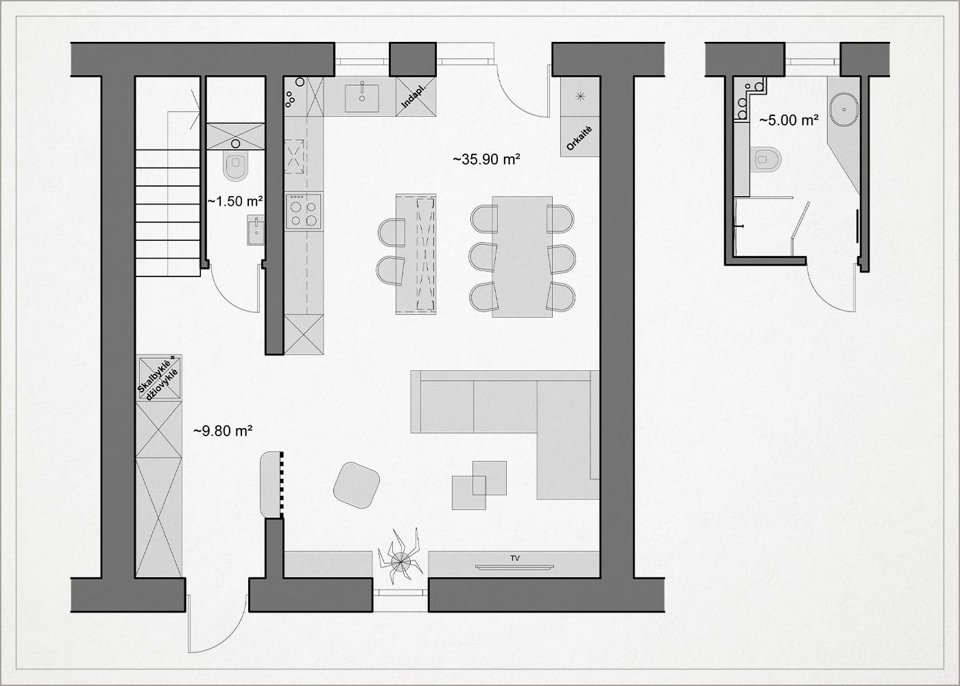 architekturinis planas - kotedzas avizieniuose