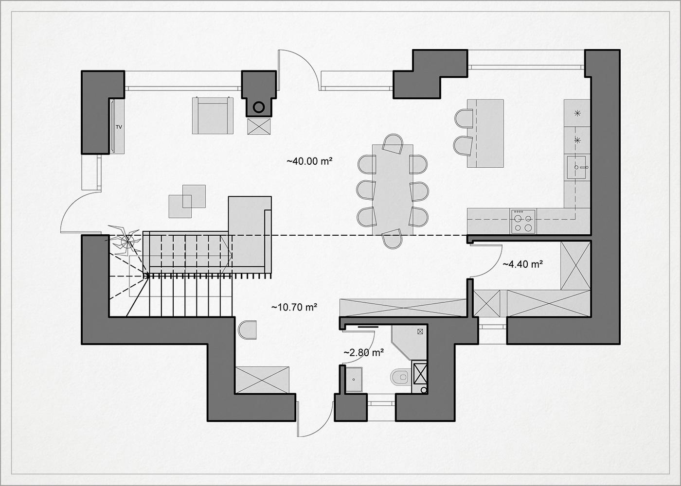 1 auksto architekturinis planas - kotedzas baltupiuose