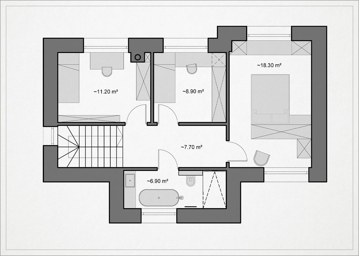 2 auksto architekturinis planas - kotedzas baltupiuose