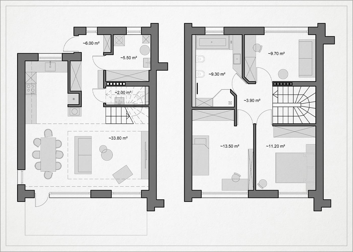 architekturinis planas - kotedzas pavilnyje